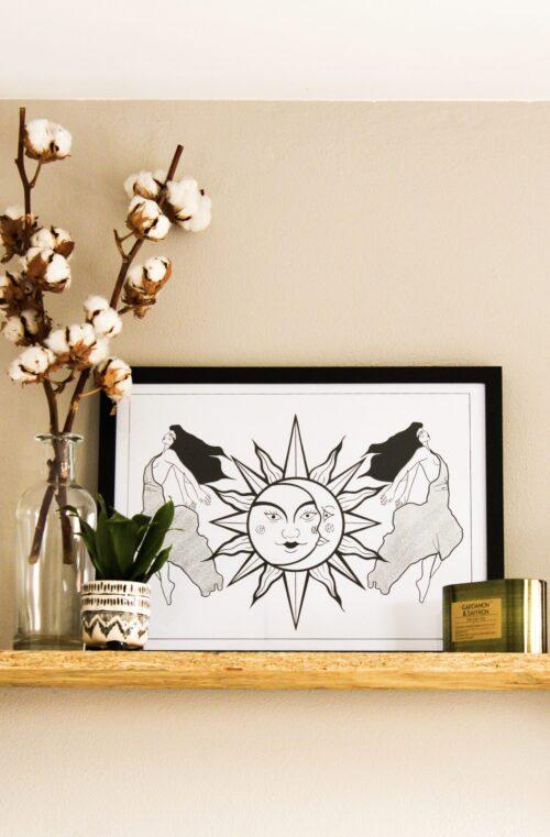 poster zwart wit zon maan vrouwen