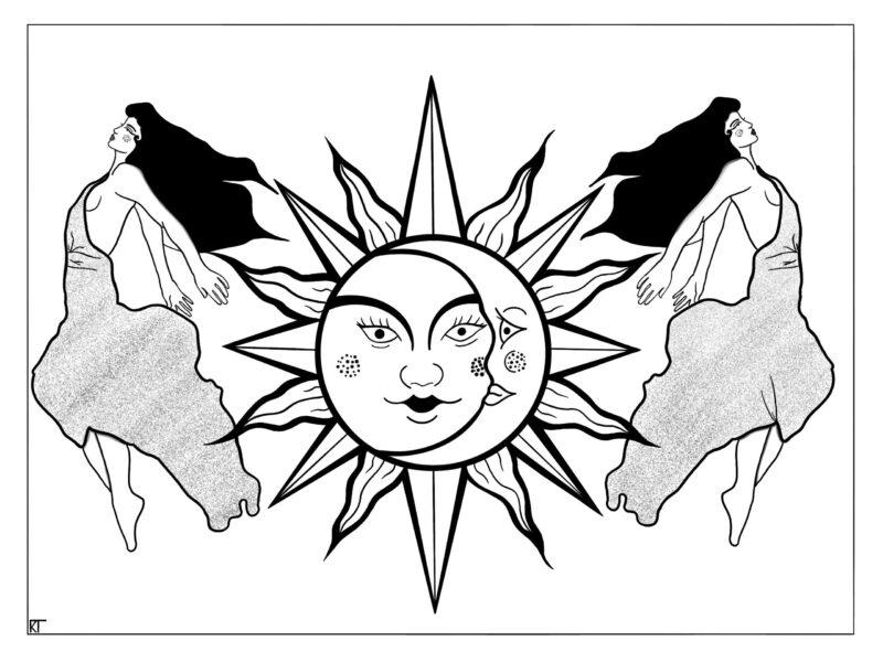 zon maan vrouw