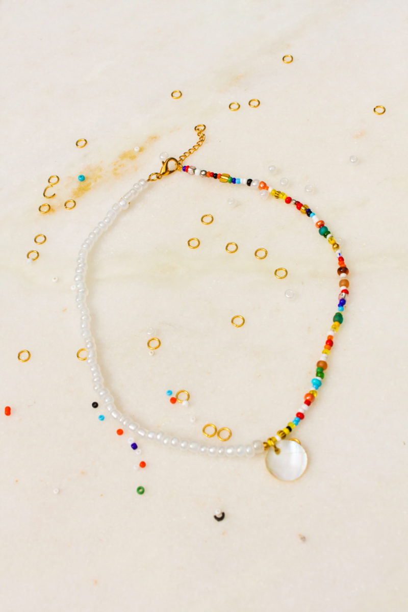 beads pearls parelmoer goud ketting