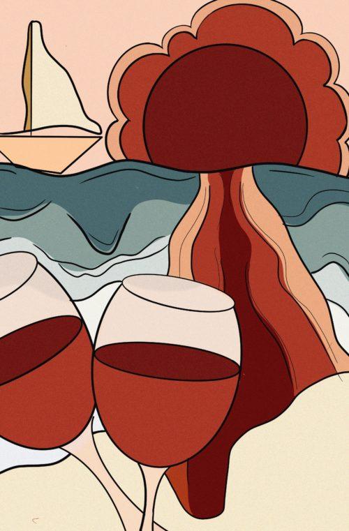 wijn zonsondergang rood illustratie