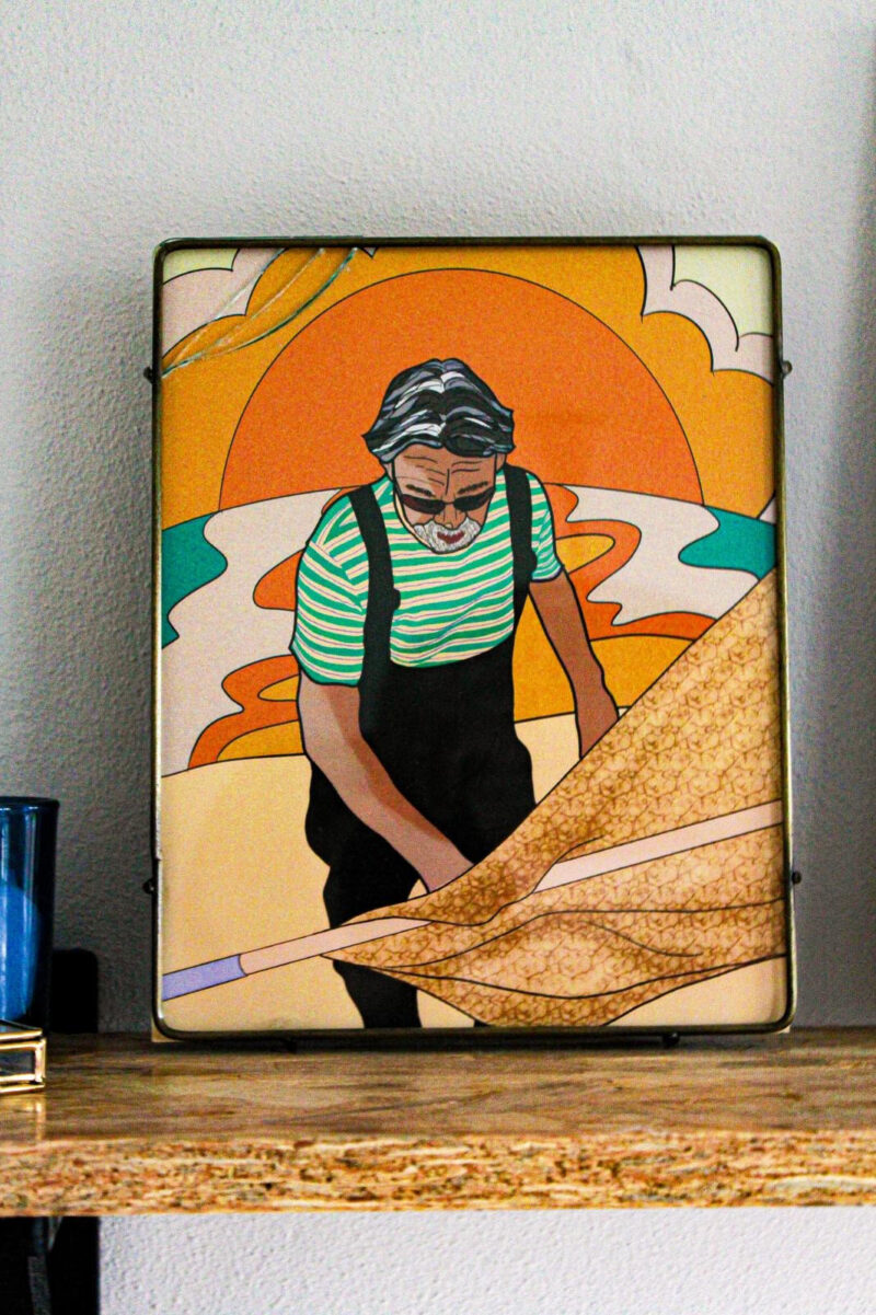visser poster kleurrijk man
