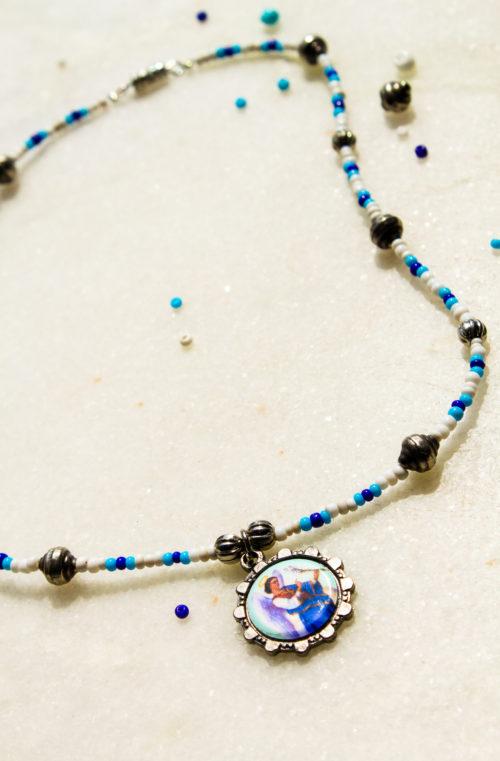 blauw wit ketting zilver bedel kraaltjes