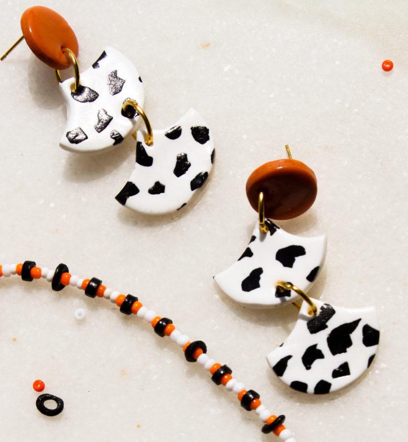 oorbellen zwart wit oranje