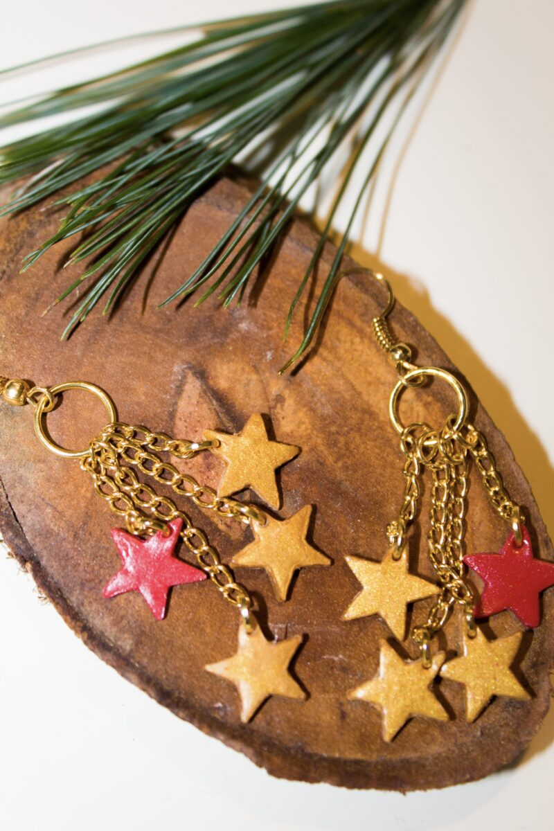 stars christmas gold red