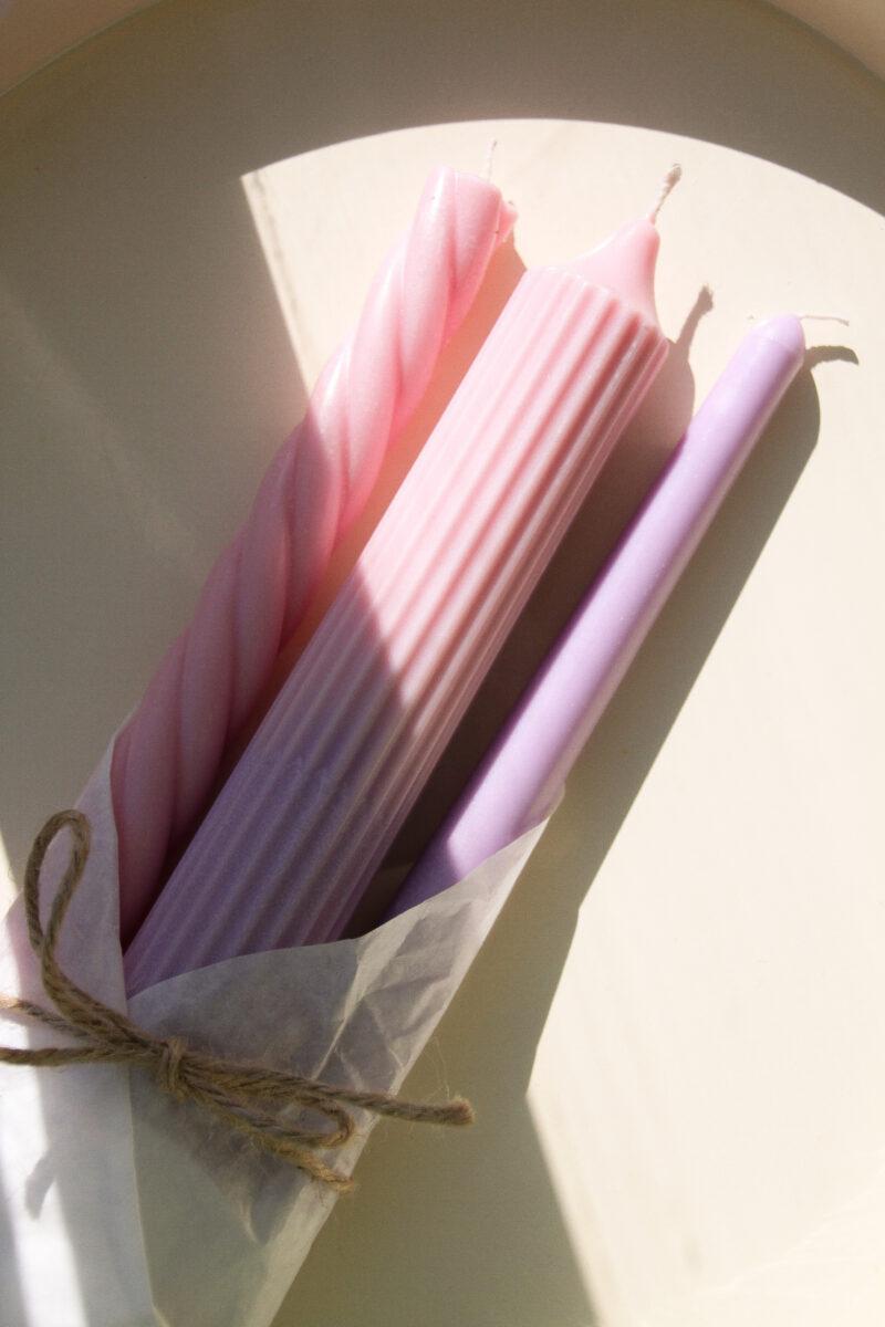kaars pastel roze paars