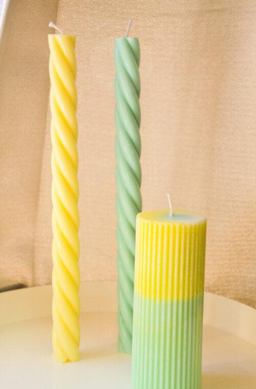 kaarsen pastel groen geel